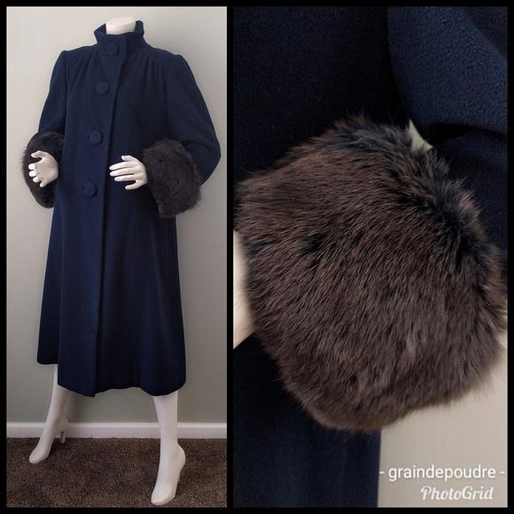 322d9651 Vintage Jackets & Coats | Vtg Pauline Trigere Blue Fox Cuff Swing ...